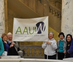 Members with AAUW banner at Idaho Capitol