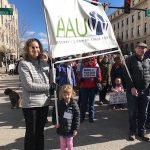 AAUW members with banner at Boise March for Our Lives, 3/24/18